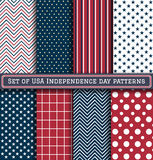 Set of USA Independence day patterns. USA, America. Happy Independence Day, July 4th - Fourth of July, American Flag Vector royalty free illustration