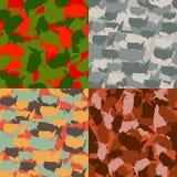 Set usa kształta camo bezszwowy wzór Kolorowy Ameryka miastowy kamuflaż Wektorowej tkaniny druku tekstylny projekt Obrazy Royalty Free