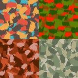 Set usa kształta camo bezszwowy wzór Kolorowy Ameryka miastowy kamuflaż Wektorowej tkaniny druku tekstylny projekt Zdjęcia Royalty Free