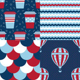 Set of USA Patterns. Collection of 4 American patriotic seamless patterns in red, blue and white Stock Image