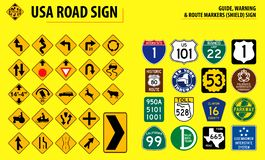 Set of USA road sign. GUIDE, WARNING & ROUTE MARKERS SHIELD SIGN. easy to modify stock illustration