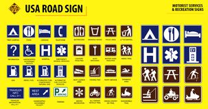 Set of USA road sign. MOTORIST SERVICES & RECREATION SIGNS. easy to modify stock illustration