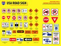Set of USA road sign. REGULATORY SIGNS & TEMPORARY TRAFFIC CONTROL SIGNS. easy to modify stock illustration