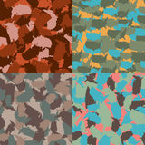 Set of USA shape camo seamless pattern. Colorful America urban camouflage. Vector fabric textile print design.  Stock Photo