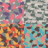 Set of USA shape camo seamless pattern. Colorful America urban camouflage. Vector fabric textile print design.  Stock Images