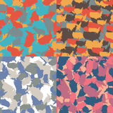 Set of USA shape camo seamless pattern. Colorful America urban camouflage. Vector fabric textile print design.  Royalty Free Stock Photo