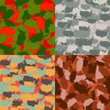 Set of USA shape camo seamless pattern. Colorful America urban camouflage. Vector fabric textile print design.  Royalty Free Stock Images