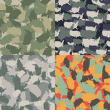 Set of USA shape camo seamless pattern. Colorful America urban camouflage. Vector fabric textile print design.  Stock Image