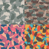 Set of USA shape camo seamless pattern. Colorful America urban camouflage. Vector fabric textile print design.  Royalty Free Stock Photos