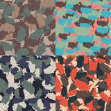 Set of USA shape camo seamless pattern. Colorful America urban camouflage. Vector fabric textile print design.  Royalty Free Stock Photography