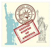 Set of USA stamps and statue of Liberty illustrati Royalty Free Stock Photo