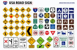 Set of USA street sign. easy to modify.  royalty free illustration