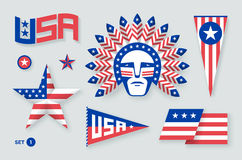Set of USA symbols and design elements for Independence Day. White, red, blue colors. Vector Illustration. Royalty Free Stock Photography