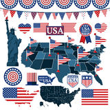 Set of USA symbols, flags, and maps with states Stock Photos