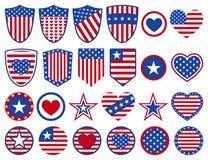 Set of USA symbols Stock Photo