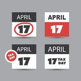 Set of USA Tax Day Reminder Concept Icons, Calendar Design Templates - Tax Deadline, Due Date for Federal Income Tax Returns. US Tax Deadline Calendar Concept Royalty Free Stock Images