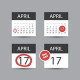 Set of USA Tax Day Reminder Concept Icons, Calendar Design Templates - Tax Deadline, Due Date for Federal Income Tax Returns. US Tax Deadline Calendar Concept Royalty Free Stock Photos