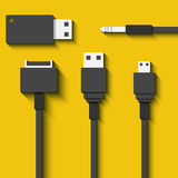 Set Usb cables and flash cards in flat style Royalty Free Stock Photo