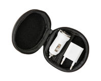 Set of usb car chargers in the circle black box on the white bac Royalty Free Stock Photos