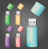 Set of usb sticks Royalty Free Stock Images