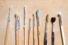 Set of Used Fine Paintbrushes stock image