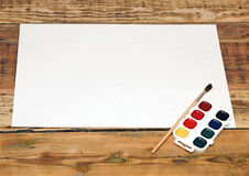 Set of used paint bruch with paper Stock Images
