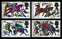 Britain Battle of Hastings Postage Stamps. Set of used postage stamps printed in Britain celebrating the 900th Anniversary of the Battle of Hastings, showing a Royalty Free Stock Images