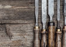 Carpentry tools on the workbench Stock Photo