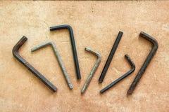Set of used rusty hex keys Stock Image