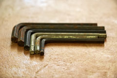 Set of used rusty hex keys Stock Images