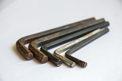 Set of used rusty hex keys royalty free stock photo