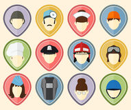 Set from 12 user icons for web sites and social networks. Professions Stock Images