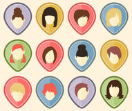 Set of 12 user icons for web sites and social networks. Women. Royalty Free Stock Images