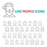 Set user line icons Royalty Free Stock Images