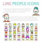 Set user line icons Royalty Free Stock Image