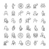 Set of 36 user thin line icons. High quality pictograms of person. Modern outline style icons collection. People, avatar, business, human, etc Stock Image