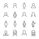 Set of 16 user thin line icons. High quality pictograms of person. Modern outline style icons collection. People, avatar, business, human, etc Royalty Free Stock Image