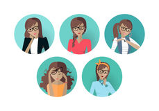 Set of Userpic of a Business Lady. Woman at Work Stock Images