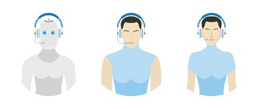 Set Users with headphone for call center. Customer service flat vector illustration EPS 10 Stock Photography