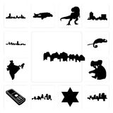 Set of utah, arkansas, star david, kentucky state, cell phone, koala, india, chameleon, maryland outline, in black icons. Set Of 13 simple  icons such as utah Royalty Free Stock Photos
