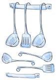set utensils för kök stock illustrationer