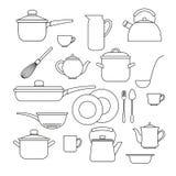 set utensils för kök Fotografering för Bildbyråer
