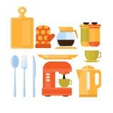 set utensils för kök också vektor för coreldrawillustration Arkivbilder