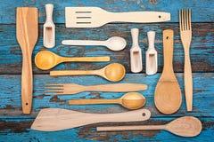set utensils för kök Tillbehör för att laga mat Arkivfoto