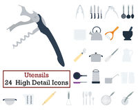 Set of 24 Utensils Icons. Flat color design. Vector illustration Royalty Free Stock Images