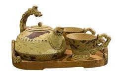 Set of utensils for tea drinking from birch bark on white background isolated. Shadrinsk, Kurgan region. Russia stock images