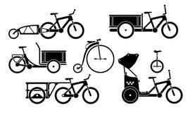 Set of utility bikes and trikes silhouette icons Royalty Free Stock Photo