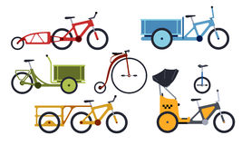 Set of utility bikes and trikes silhouette icons. Color set of utility  bicycles and tricycles silhouette icons. Vector isolated clipart Stock Photos