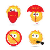 Set of UV Sun Protection and anti UV cartoon icons. Vector illustration Stock Photography