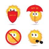 Set of UV Sun Protection and anti UV cartoon icons. Vector illustration Stock Photography